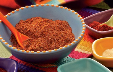 Mexican seasoning in a blue bowl