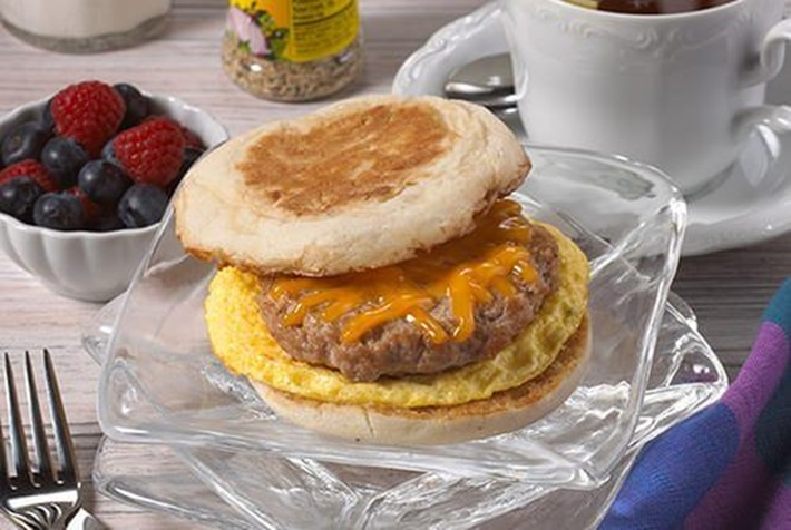 Egg and Sausage Breakfast Sandwich