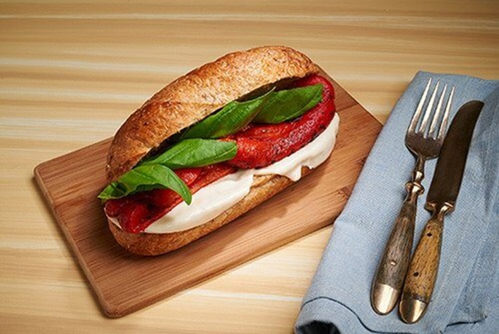 Roasted Red Pepper Basil and Vegan Provolone Cheese Sandwich