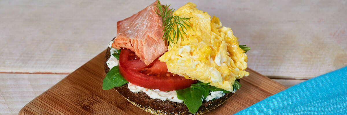 Bagel with Egg and Salmon