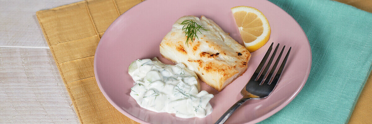 Broiled Cod with Cucumber Sauce