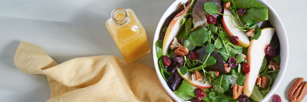 Pear and Cranberry Salad with Honey Ginger Dressing