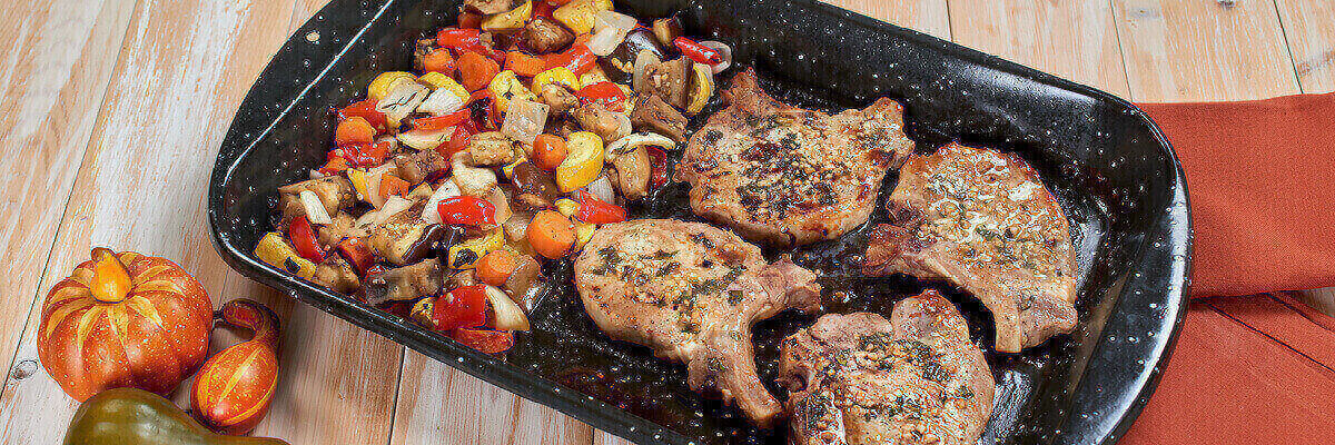 Sheet Pan Pork Chops with Garden Vegetables