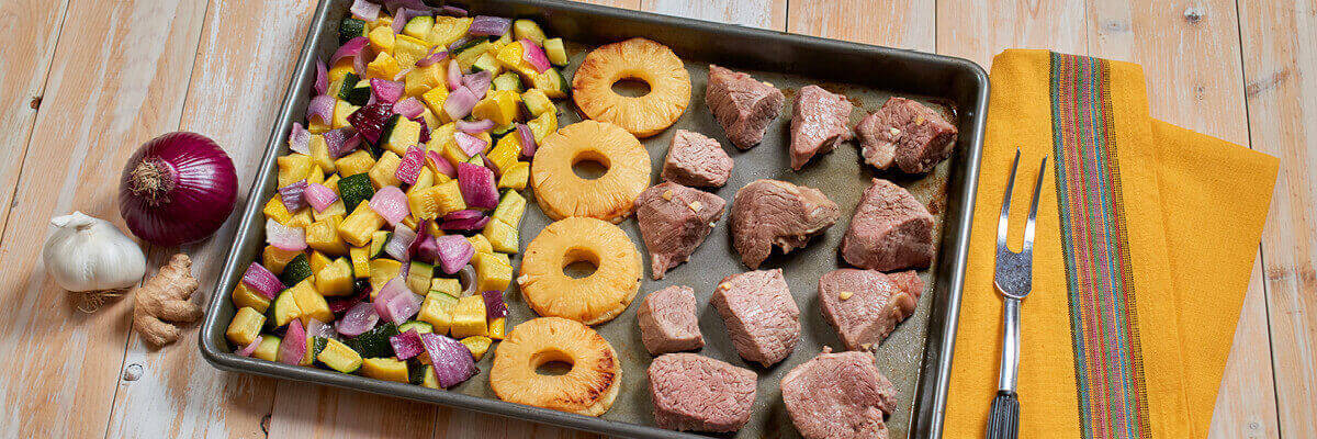 Sheet Pan Sirloin Tips with Summer Squash and Pineapple