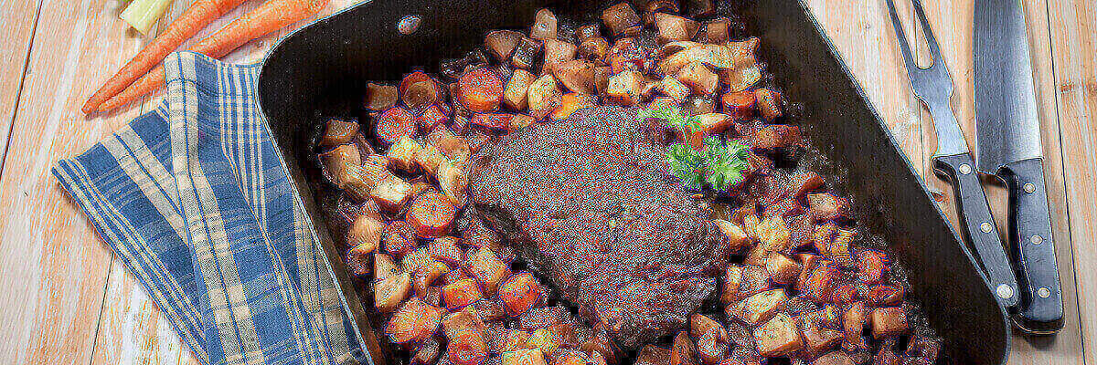Slow Roasted Beef Pot Roast with Carrots and Turnips