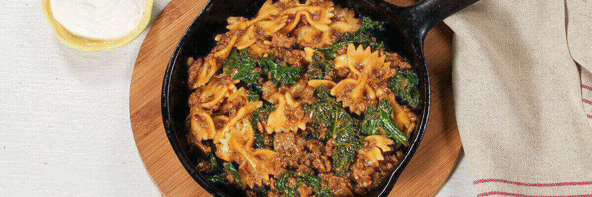 Veggie Crumbles with Bowtie Pasta and Kale